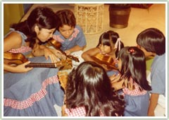 Kathy Sakuma Teaching Students How To Play the Ukulele in 1981